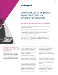 Crownpeak DXM Data Sheet for Marketers