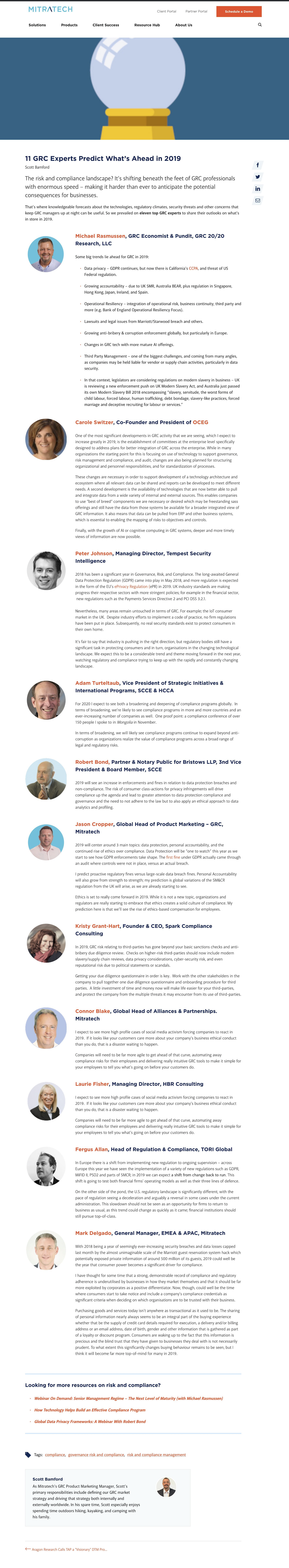 11 GRC Experts Predict What's Ahead in 2019 Blog Post