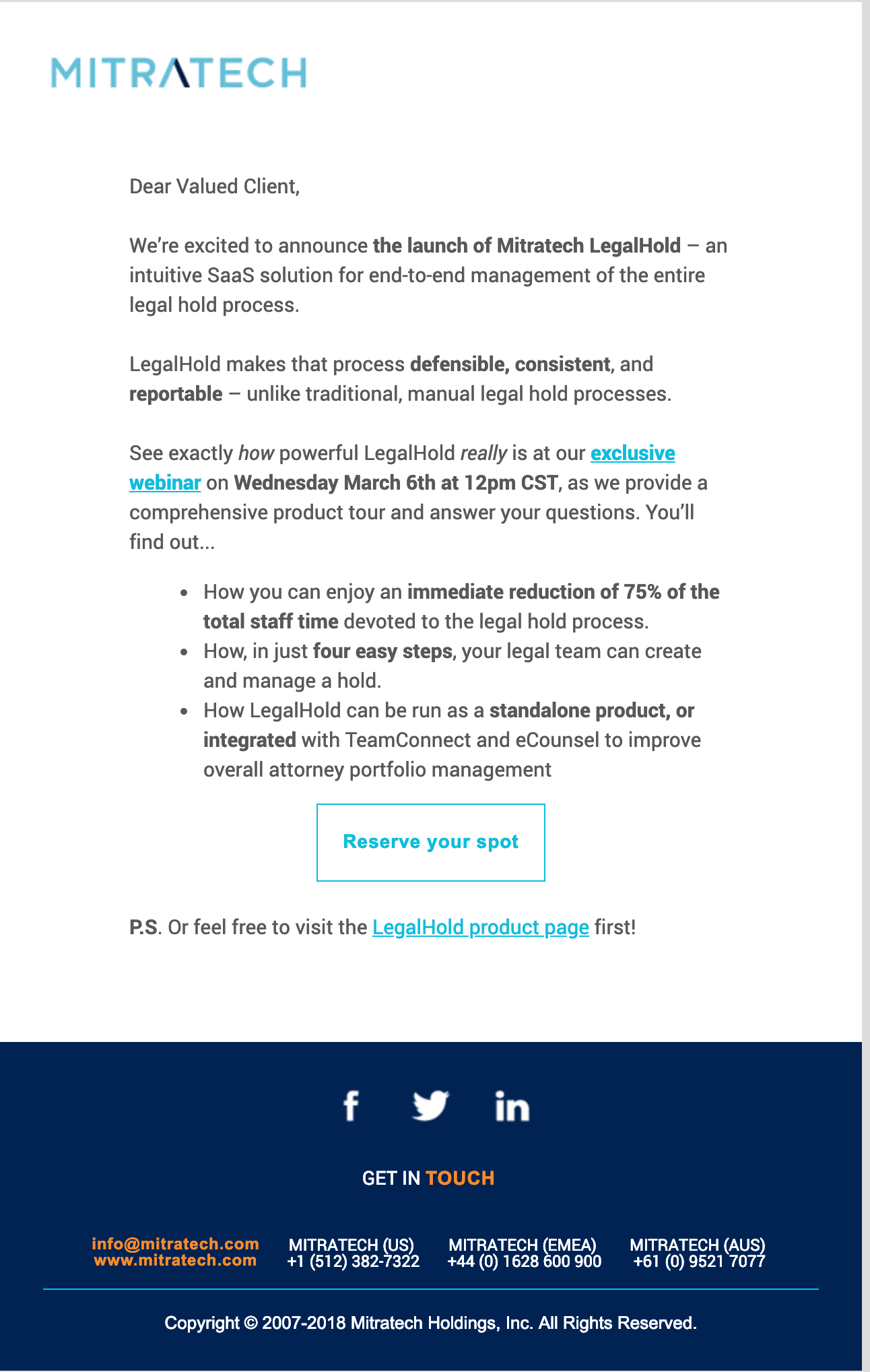 Introducing Mitratech LegalHold Email